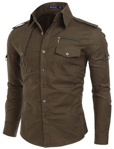 Doublju Men Comfortable Pocket Detail Long Sleeve Dress Shirt KHAKI,M