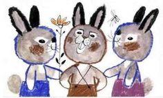 Zelk Zoltán - A három nyúl 1. Graphic Art, Snowman, Disney Characters, Fictional Characters, Illustrations, Vintage, Draw, Illustration, Snowmen