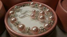 Bridal Shower. White, Blush, and Pink. Brides Maids Bracelet 925 Earrings Set  Wedding by WhitePearlGem, $25.99