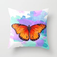 Red and orange butterfly watercolor painting by Sylph Designs (artist Kaisa…