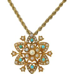 Victorian 14K Turquoise & Pearl Pendant - Pin