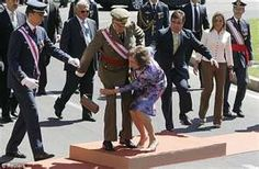 The queen of Spain stumbles again.