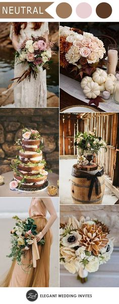 taupe, blush and mauve neutral fall wedding ideas