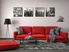 Canvas Print for Home Decoration 4 Panels New York City Landmark Painting Wall Art Picture Print on Canvas - High Definition Modern Giclee Artwork Red Couch Living Room, Red Living Room Decor, Home Living Room, Living Room Designs, Decoration Chic, Discount Bedroom Furniture, Home Office Decor, Home Decor, Wall Art