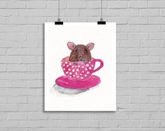Childrens Decor Watercolour mouse, OMG so cute!