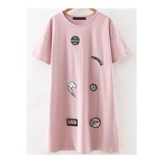 SheIn(sheinside) Pink Round Neck Patch Tee Dress (29 AUD) ❤ liked on Polyvore featuring dresses, pink, short summer dresses, shift dress, pink t shirt dress, short dresses and t-shirt dresses