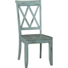 Pairing a latticework back and an antique blue finish, this wood side chair lends a rustic touch to your kitchen or dining area. Pro...