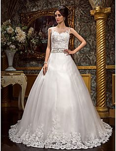 A-line Princess Jewel Court Train Tulle Wedding Dress (612395). Get special discounts up to 70% Off at Light in the box using Coupons.