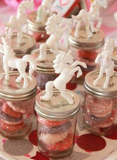 Love these unicorn jar toppers! Sparkle Like A Unicorn themed birthday party via Kara's Party Ideas | KarasPartyIdeas.com #unicornparty (23)