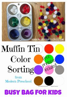 Muffin Tin Color Sorting with pom pom for preschoolers & toddlers from Modern Preschool!