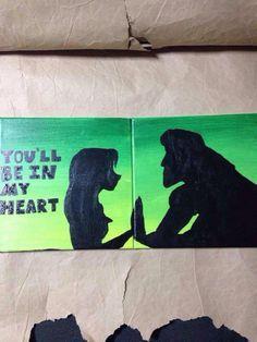 Tarzan and Jane canvas painting! Disney sillohuette