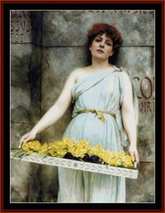 Flower Seller, 1896 - Godward cross stitch pattern by Cross Stitch Collectibles