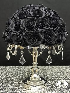 Discover recipes, home ideas, style inspiration and other ideas to try. Flower Ball Centerpiece, Crown Centerpiece, Black Centerpieces, Birthday Centerpieces, Wedding Centerpieces, Mickey Centerpiece, Dusty Rose Wedding, Bling Wedding, Burgundy Wedding