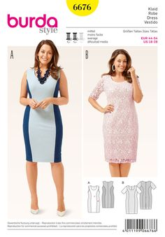 Burda 6676. Two-in-one: The slim cut sleeveless jersey dress can go solo or be worn under the short sleeve lace dress. Shaped panel seams fit both dresses to your figure. The scalloped edge lace fabric lends a touch of glamour.