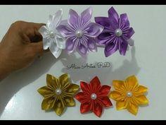 Flor de fita de cetim fácil de fazer Aula 43 - YouTube