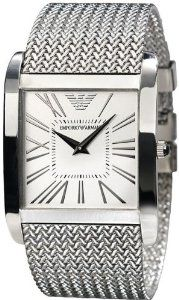 Emporio Armani Silver Dial Stainless Steel Mesh Bracelet Mens Watch AR2014 Emporio Armani. $233.75. 30 Meters / 100 Feet / 3 ATM Water Resistant; Quartz Movement; Mineral Crystal; 36mm Case Diameter