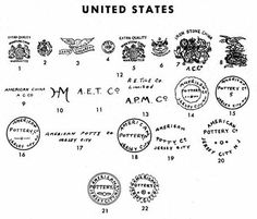 Old pottery and porcelain marks of United States. (Page 1 of Pottery Marks, Antique Pottery, Vintage China, Vintage Love, Martin Brothers, Antique Glassware, Japanese Pottery, Antique Items, Makers Mark