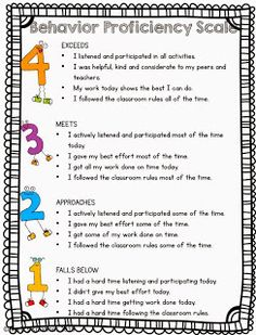 Behavior proficiency scale FREEBIE- revised- with two different versions- with children and with just numbers.