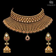Picture from Balkishan Dass Jain Jewellers Photo Gallery on WedMeGood. Antique Jewellery Designs, Gold Jewellery Design, Antique Jewelry, Designer Jewellery, Bridal Jewellery, Jewelry Art, Gold Jewelry, Fashion Necklace, Fashion Jewelry