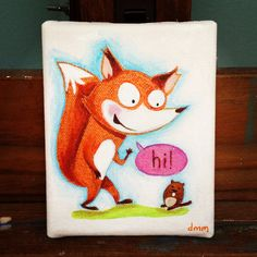 Mini Fox painting. $35.00, via Etsy. ©doreen m. marts