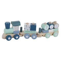 Holzpielzeug Steckspiel Zug 'Sterne' blau/mint/beige L45,5cm