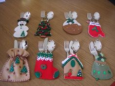christmas time cutlery holders