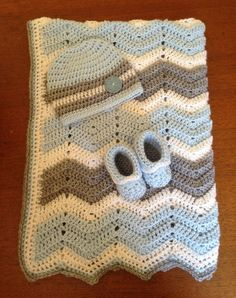 Crochet Baby Gift Set-Blanket,Beanie Hat,Booties-Blue,White,Grey-Ready to Ship on Etsy, $43.89 AUD