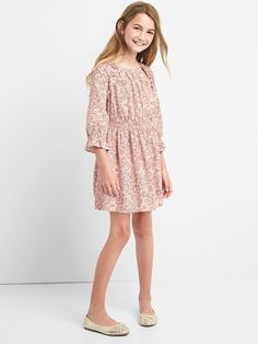 Gap Girls Floral Smocked Ruffle Dress Pink Dust