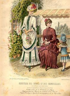 Fashion plate, 1879 France, Moniteur des Dames et des Demoiselles