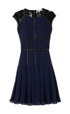 Rebecca Taylor toughens up the dainty cocktail dress with stud detailing around the bodice. What Is Cocktail Attire, Cocktail Wedding Attire, Cocktail Attire For Women, Wedding Dress, Short Lace Dress, Chiffon Dress, Short Dresses, Dresses For Work, Lace Chiffon