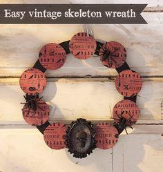 DIY Halloween vintage skeleton wreath