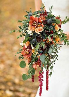 Not into the cascading bouquet but like the orange/red/green combo. trailing autumn wedding bouquet - copper inspired wedding bouquet by prestige floral studio Bouquet En Cascade, Cascading Wedding Bouquets, Fall Bouquets, Fall Wedding Bouquets, Fall Wedding Flowers, Bridal Flowers, Fall Flowers, Flower Bouquet Wedding, Floral Wedding