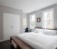 Benjamin Moore Cement Gray via East Village Duplex - modern - bedroom - new york - General Assembly
