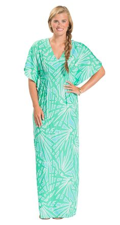 This stunning maxi works as a dress or a cover up - perfect for packing light but still looking fabulous on your vacation!