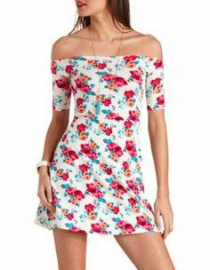 a415d897df off-the-shoulder floral skater dress Floral Skater Dress