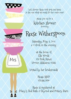 Stacked Bowl Kitchen Shower Invitation by lilypadboutiquestore, $17.00