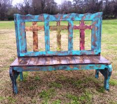 Save 10% by using GUGREPBRITT at check out!! www.gugonline.com  Handmade Rustic Three Cross Bench in Turquoise and Brown Stain