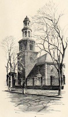 Fine Original 1922 Print of Christ Church in Alexandria VA. by O.R. Eggers