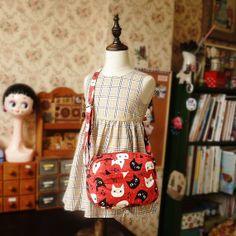 Free Shipping Japanese Handmade Shoulder Messenger Bag for girl and kids - Cats on Etsy, $29.00