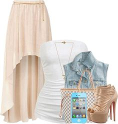I could see my daughter in this...so very pretty !    White blouse, jeans jaceket, high heel shoes and hand bag for ladies -Follow the pic for more outfits