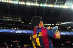 FC Barcelona fan takes a selfie ahead of a UEFA Champions League Group E match between FC Barcelona and Bayer 04 Leverkusen on September 29, 2015 in Barcelona, Catalonia.