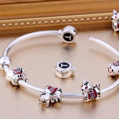 Fits Pandora Bracelets. T400 Jewelers 925 Sterling Silver Animal Tiger Bead Charms.