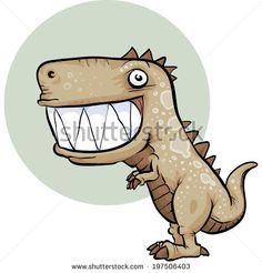 A happy, cartoon dinosaur with a big smile.