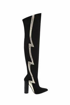 Black Pointed Toe Lightning Stripe Over-the-knee Disco Sock Boots UK 4 5 6 Women Lightning, Heeled Boots, Socks, Toe, Heels, Stuff To Buy, Ebay, Black, Fashion