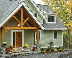 House color grey body white trim red roof lady fox for Exterior siding that looks like wood