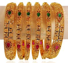 Gold Stones Bangle Set - - Gold bangle set (Set of Bangles are beautifully designed with studded Red, Green and Polki t Antique Jewellery Designs, Gold Jewellery, Antique Jewelry, Jewelry Design, Bangle Set, Bangle Bracelets, Gold Bangles Design, Gold Money, Gold Designs