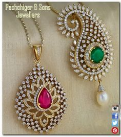 Diamond Pendent with Gemstone and South sea pearl...