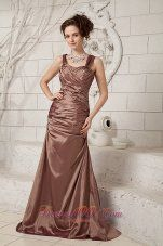 Elegant Chocolate Column Straps Brush Train Taffeta Ruch Mother Of The Bride Dress - US$125.48  http://www.dresses100.com  2013 2014 2015 chocolate dress for cocktail hour