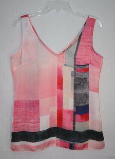 White House Black Market Sleeveless V Neck Pink Multi Tank Blouse Small Women's Fashion