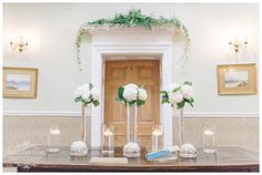 We styled the spectacular Hall at Middleton Lodge with White Hydrangeas and mixed foliage Door Tops www.weddingandevents.co.uk